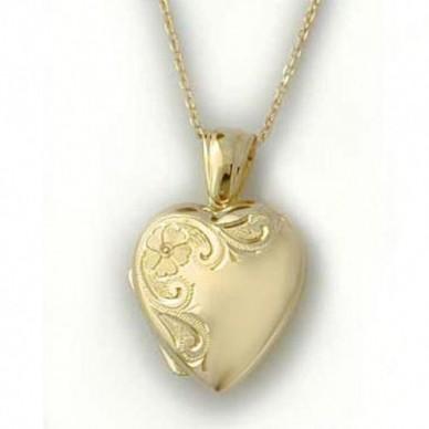18K Yellow Gold Floral Heart Locket - Heather