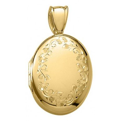 18K Yellow/White Gold Floral Oval Locket - Julia