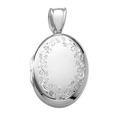 14k White Gold Floral Oval Locket - Julia