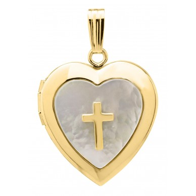 Gold Filled Mother of Pearl Cross Heart Locket