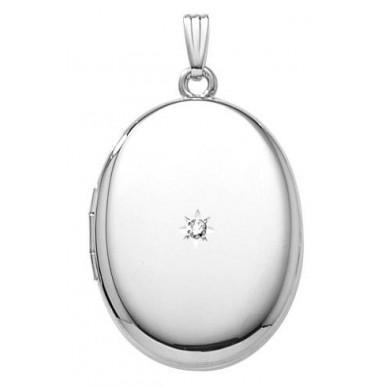 Sterling Silver Oval Locket w/diamond - Caroline