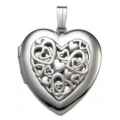 Sterling Silver w/ Punctured Design Heart Locket