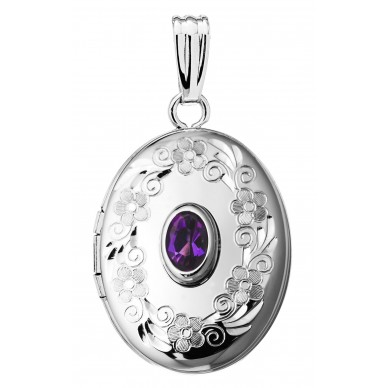 14k White Gold Oval Birthstone Locket - Melinda