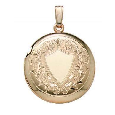14k Yellow Gold Engraved Round Locket - Diana