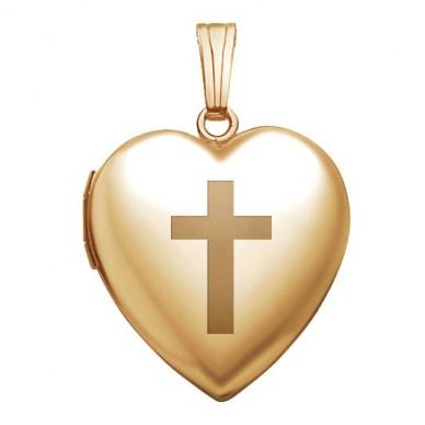 Gold Filled Cross Heart Locket