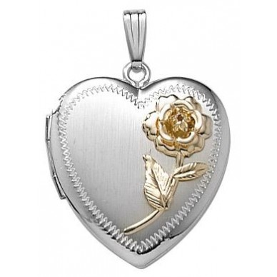 14k White Gold Two Tone Rose Locket - Rosa