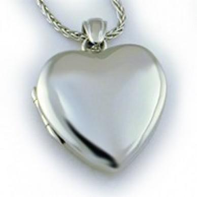 14k White Gold Premium Heart Locket - Kristin