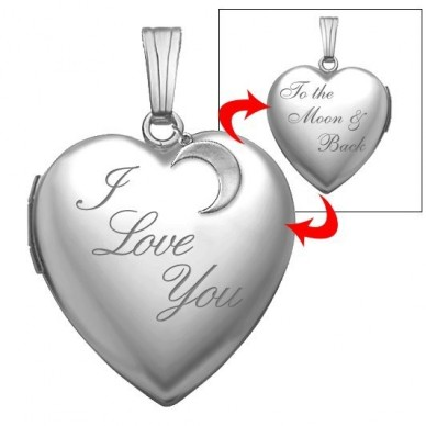 """Sterling Silver """" I Love You To The Moon & Back"""" Heart Photo Locket"""
