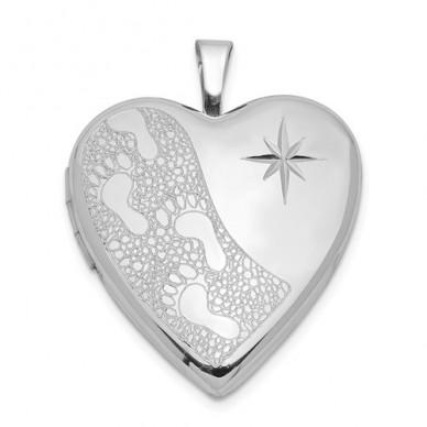 Sterling Silver Footprints With Starburst Heart Photo Locket
