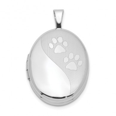 Sterling Silver Paw Prints Oval Photo Locket