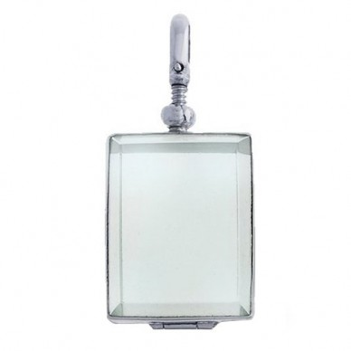 Sterling Silver Rectangle Glass Dome Locket