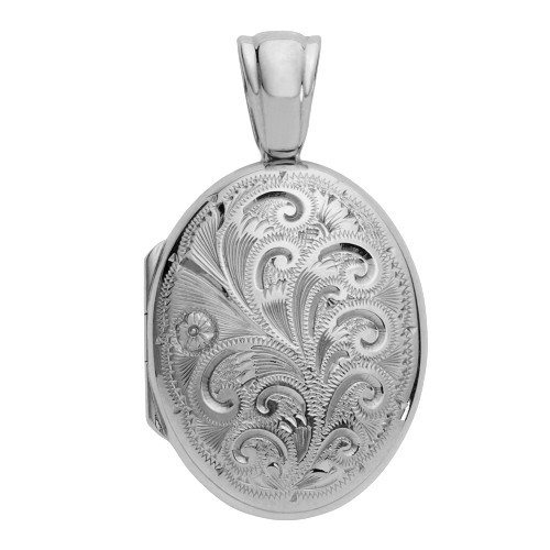 Sterling Silver Premium Weight Floral Oval Locket