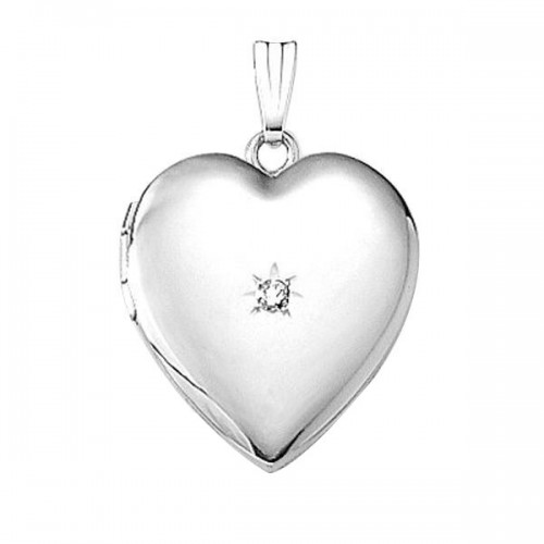 Sterling Silver Heart Locket with Diamond - Louise