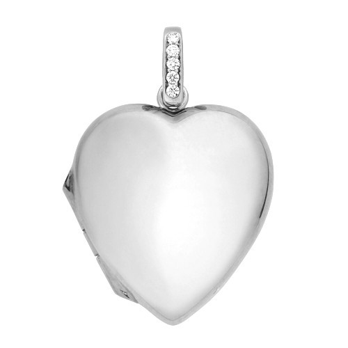 18k White Gold Diamond Heart Locket - Nancy