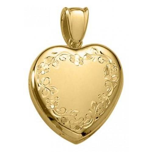14k Gold Floral Heart Locket - Brooke