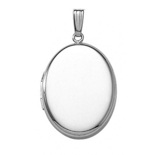 14k White Gold Oval Locket- Riley