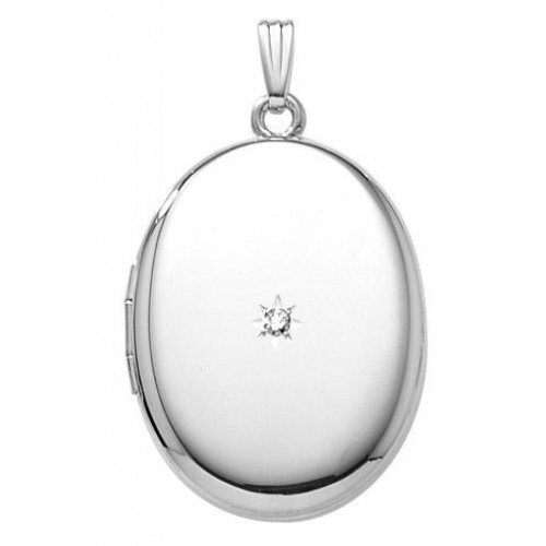Sterling Silver Oval Locket w/diamond - Caroline