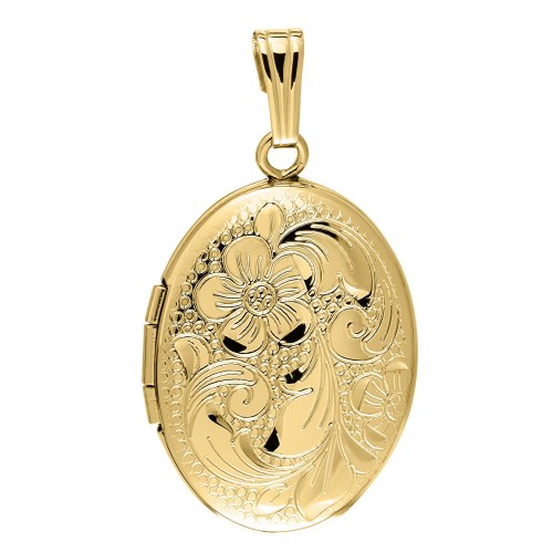 Gold Filled Hand Engraved Floral Oval Locket