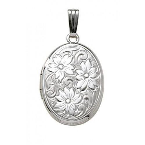 Sterling Silver Oval Embossed Floral Locket