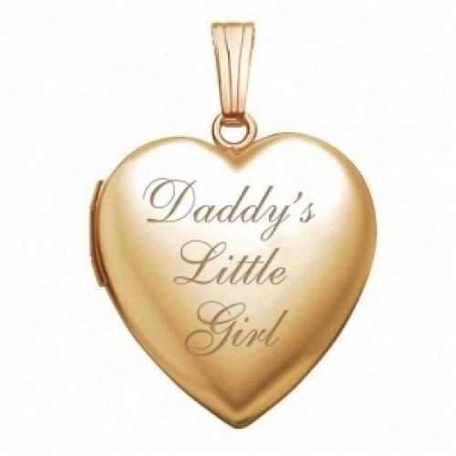 "14K Gold ""Daddy's Little Girl"" Heart Photo Locket"