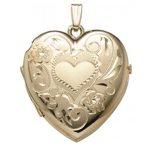 14K Gold 2 Picture Heart Locket - Darla