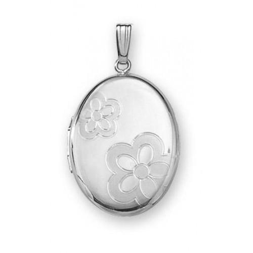 Sterling Silver Oval Locket - Flower Power