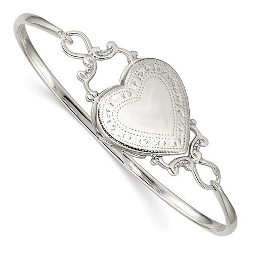 Sterling Silver Bangle Bracelet Heart Photo Locket