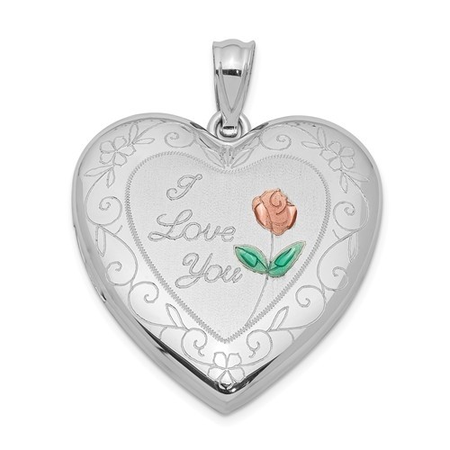 """Sterling Silver """"I Love You"""" Floral Heart Photo Locket"""