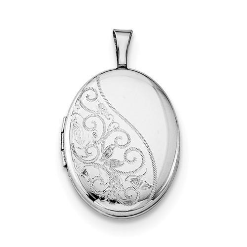 Sterling Silver Floral Oval Locket