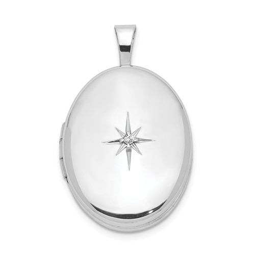 Sterling Silver Oval Locket with Diamond