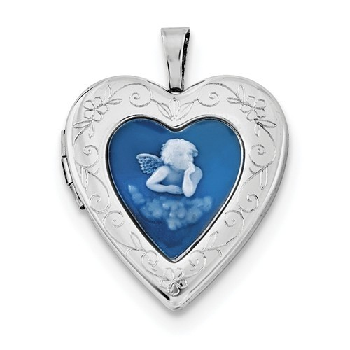 Sterling Silver Angel Cameo Heart Photo Locket