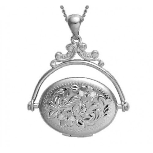 White Gold Floral Oval Locket - Betsy