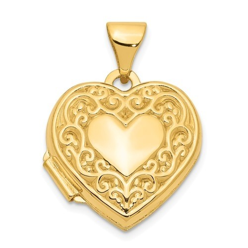 14K Gold Small Heart Floral Heart Photo Locket