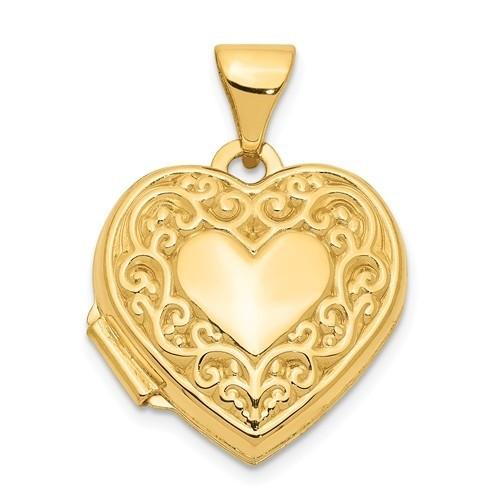 14K Gold Small Heart Floral Heart Photo Locket