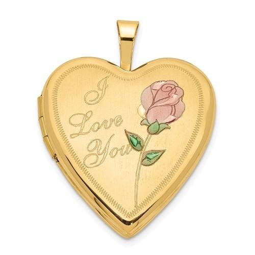 "14K Gold ""I Love You"" Floral Heart Photo Locket"