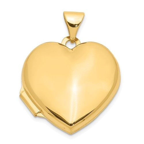 14k Yellow Gold Plain Heart Photo Locket
