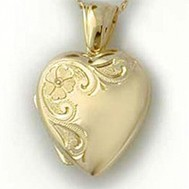 18K Yellow Gold Floral Heart Locket - Heather