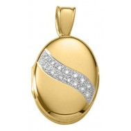 18k Yellow Gold Diamond Oval Locket - Yvonne