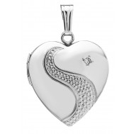 Sterling Silver Heart Locket w/ Diamond
