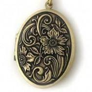 Brass Antiqued Oval Locket - Flora