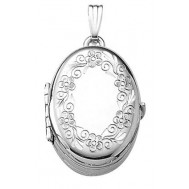 14k White Gold 4 Picture Oval Locket - Amelia