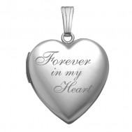 "Sterling Silver ""Forever In My Heart"" Heart Photo Locket"