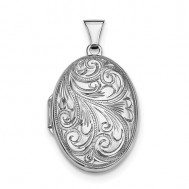 Sterling Silver Floral Oval Locket