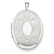 Sterling Silver Oval With Flowers Photo Locket