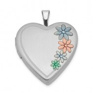 Sterling Silver Colored Floral Heart Photo Locket