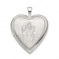 Sterling Silver St. Christopher Heart Photo Locket