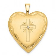 14K Gold Cross With Diamond Heart Photo Locket