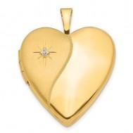 14K Gold Polish And Satin Diamond Heart Photo Locket