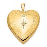 14K Gold Starburst Diamond Heart Photo Locket