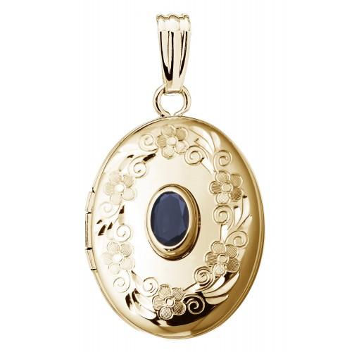 14k Gold Birthstone Oval Locket - Melinda